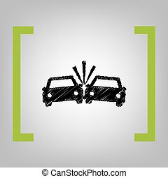 Crashed Cars sign. Vector. Black scribble icon in citron...
