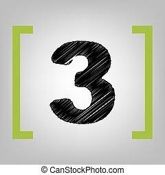 Number 3 sign design template element. Vector. Black...