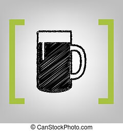 Beer glass sign. Vector. Black scribble icon in citron...