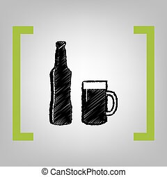 Beer bottle sign. Vector. Black scribble icon in citron...