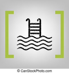 Swimming Pool sign. Vector. Black scribble icon in citron...