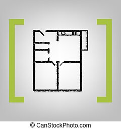 Apartment house floor plans. Vector. Black scribble icon in...