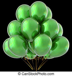 Green balloons happy birthday party decoration glossy