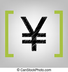 Yen sign. Vector. Black scribble icon in citron brackets on...