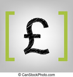 Turkish lira sign. Vector. Black scribble icon in citron...