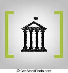 Historical building with flag. Vector. Black scribble icon in citron brackets on grayish background.