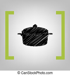 Pan sign. Vector. Black scribble icon in citron brackets on...