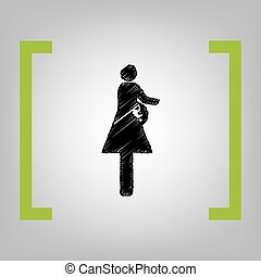 Women and baby sign. Vector. Black scribble icon in citron...