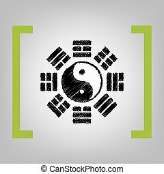 Yin and yang sign with bagua arrangement. Vector. Black...
