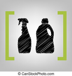 Household chemical bottles sign. Vector. Black scribble icon in citron brackets on grayish background.