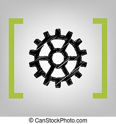 Gear sign. Vector. Black scribble icon in citron brackets on...