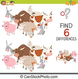educational finding differences game - Cartoon Illustration...