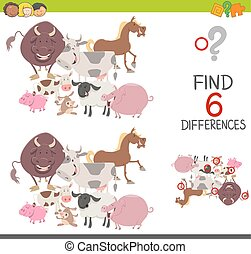 preachool finding differences game - Cartoon Illustration of...
