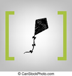 Kite sign. Vector. Black scribble icon in citron brackets on...