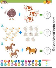 addition maths activity with animals - Cartoon Illustration...
