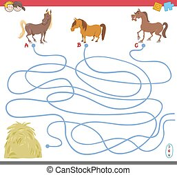 maze game with horse characters - Cartoon Illustration of...