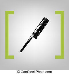 Comb sign. Vector. Black scribble icon in citron brackets on...