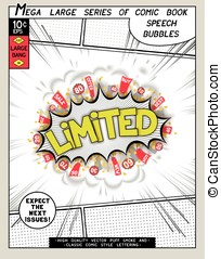 Limited. Explosion in comic style with lettering and...