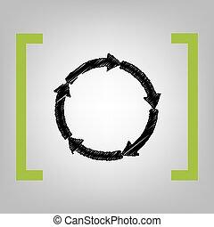 Cirkular arrows sign. Vector. Black scribble icon in citron...