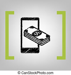 Payment, refill your mobile smart phone,. Vector. Black...