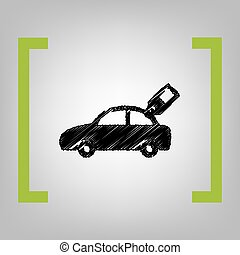 Car sign with tag. Vector. Black scribble icon in citron...