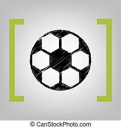Soccer ball sign. Vector. Black scribble icon in citron brackets on grayish background.