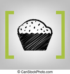 Cupcake sign. Vector. Black scribble icon in citron brackets on grayish background.