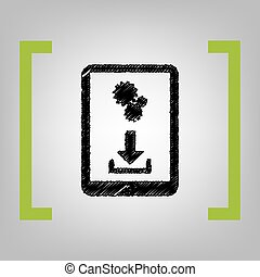 Phone icon with settings symbol. Vector. Black scribble icon...