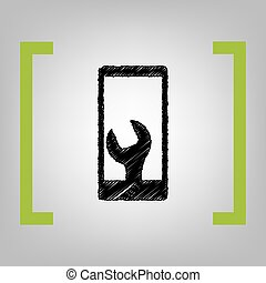 Phone icon with settings. Vector. Black scribble icon in...