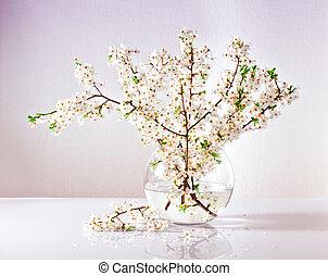 分支, 蘋果, 開花, 樹, 花瓶, 水, 玻璃