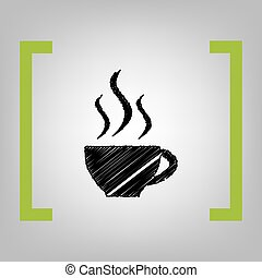 Cup of coffee sign. Vector. Black scribble icon in citron...