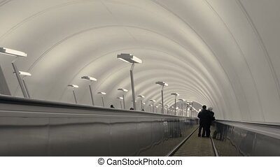 An escalator on a moscow's metro station - RUSSIA MOSCOW -...