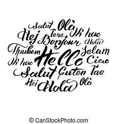 Vector hand lettering text Hello written in different...