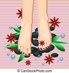 Vector illustration of woman feet pedicure in flat style