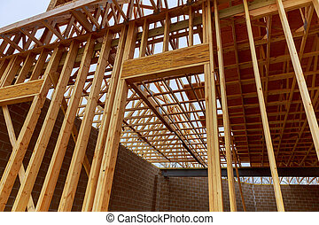New house construction with frame New construction of a...