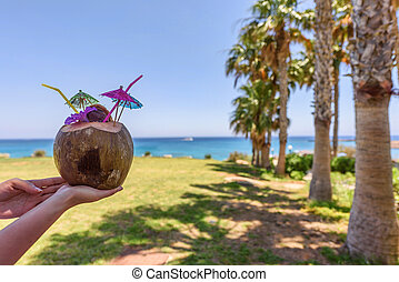 Coconut fruit on a table - Woomen hands holding a coconut...