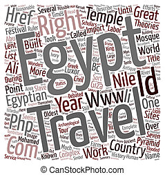 Right travel describes the history of Egypt text background wordcloud concept