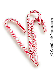 stripy candy cane on white background