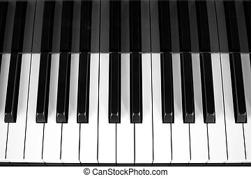 Piano keys view from above in black and white