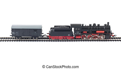 Toy Steam Train and freight car on white background