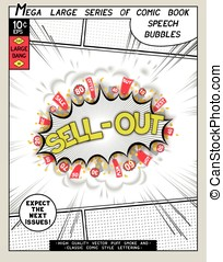 Sell-out. Explosion in comic style with lettering and...