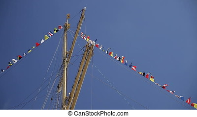 Fore Down Dressing Line of a Sailing Ship - Fore down...