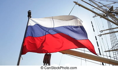 Waving Russian Ensign Flag - Tall sailing ship Russian...