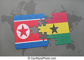 puzzle with the national flag of north korea and ghana on a...