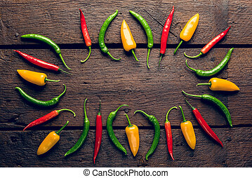 Red, green, yellow peppers - Red, green, yellow chili...