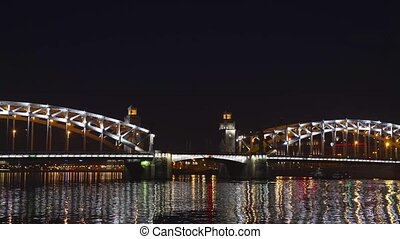 Drawbridge at night in the city