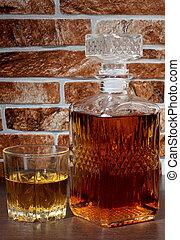 Whiskey glass and wall one - Glass and bottle wine on wooden...