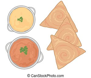 dosa and curry - a vector illustration in eps 10 format of...