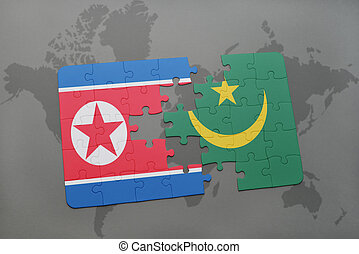 puzzle with the national flag of north korea and mauritania...