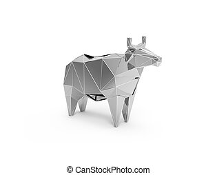 3D polygonal illustration of silver plastic cow